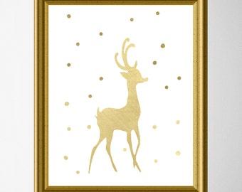 Gold reindeer Christmas Wall Art - Christmas Decor - Art Print - Reindeer Wall Art - Christmas Art - Gold reindeer Printable