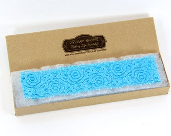 """Headband, Wedding Garter and/or Lace Headband - 1.25"""" Stretch Lace, 16 Colors Available, Stretch Lace, Toss Garter, Garter, Blue headband"""