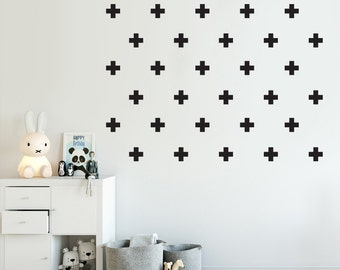 Cross/Plus Sign Decal - Choose Your Color, Swiss Cross Decal, Stickers, Geometric Wall sticker, Scandinavian Design, Wall Decal for Boys