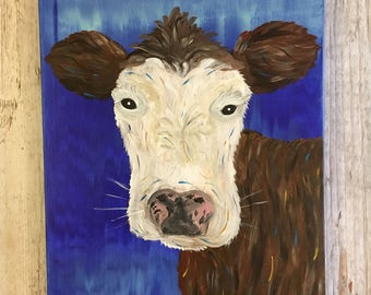 Cow- Cow Painting- Abstract Cow- Farm Animal- Brown and White Cow- Brown Cow- Farm Animal Painting- Farmhouse Decor- Abstract Art- Wall Art
