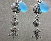 "Cape Cod ""Beach Glass"" and Sea Life Sterling Silver Charms on Sterling Silver Earwires Dangle Earrings"
