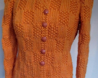 1940's Reproduction Knitted Jacket in Harvest Yellow Chunky Yarn
