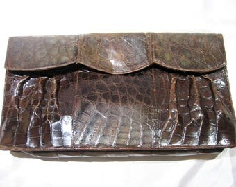 Vintage 1950's Brown Leather Alligator Clutch Purse