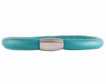 "7"" Dark Turquoise Faux Leather/Vegan Friendly Single Wrap Charm Bracelet w/Magnetic Closure"