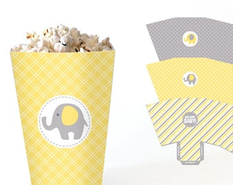 Elephant Popcorn Boxes - Yellow and Grey Baby Shower Favor Boxes - Printable Treat Boxes - Gender Neutral Shower Candy Box - DIY Table Decor