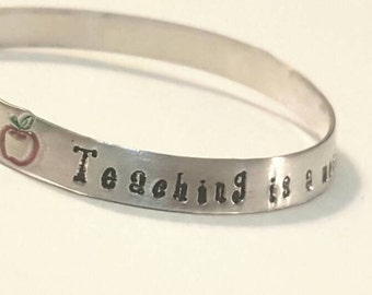 Teacher appreciation gift/Personalized teacher bracelet/ Teaching is a work of heart