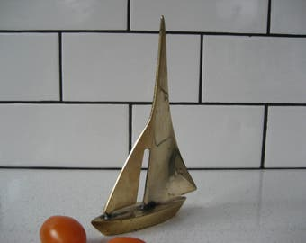 40% OFF SALE // Vintage brass sailboat - full sail - fair winds
