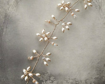 Cream champagne pearl crystal wedding hair vine, Wire bridal hair vine accessory, Bridal wreath headpiece, Romantic wedding