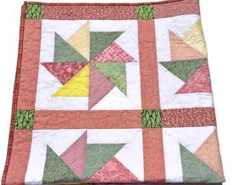Baby Quilt Blanket in Pink and Green Pastels, Pinwheel Crib Quilt, Pink Receiving Blanket, Pink Baby Gift, Pink Shower gift Quiltsy Handmade