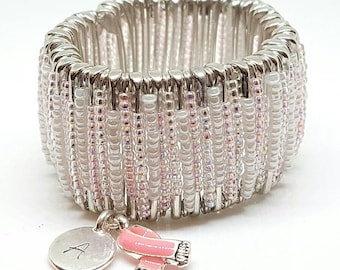 Personalized Pink Breast Cancer Awareness Safety Pin Bracelet with Pink Ribbon Charm (P3). Safety Pin Jewelry.