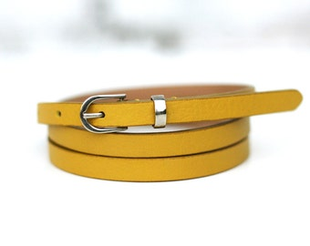 Free shipping! Leather belt, woman belt, yellow belt, dark yellow belt, yellow leather belt, skinny belt, narrow belt, thin belt