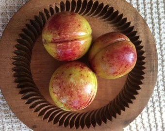 Group of Three, Vintage Stone Fruit Peaches,  Italian Carrara Marble, Mid-Century