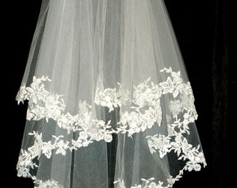 French Lace Beaded Bridal Veil Wedding 2 Tier Vintage