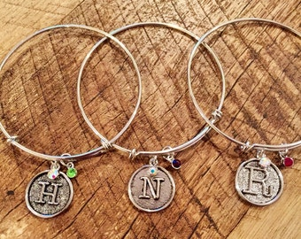 Initial With Birthstone Bracelet, Personalized, Initial Jewelry, Birthstone Jewelry