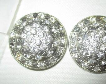 2 Rhinestone Buttons Vintage