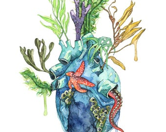"""Watercolor Painting, Anatomical Heart, Anatomical Heart Print, Heart, Human Heart, Ocean Heart, Ocean Painting, Sea,Print title""""Overflowing"""""""