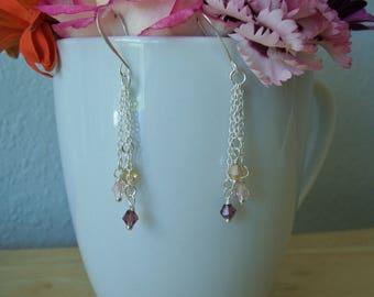 Handmade Swarovski Crystal and Sterling Silver dangle earrings