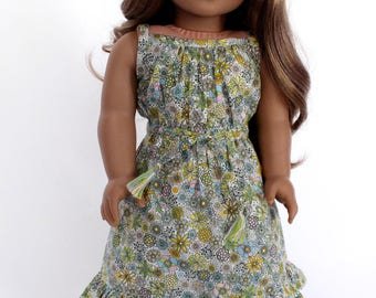 18 inch girl doll clothes - Field Blooms Sundress with matching skinny belt