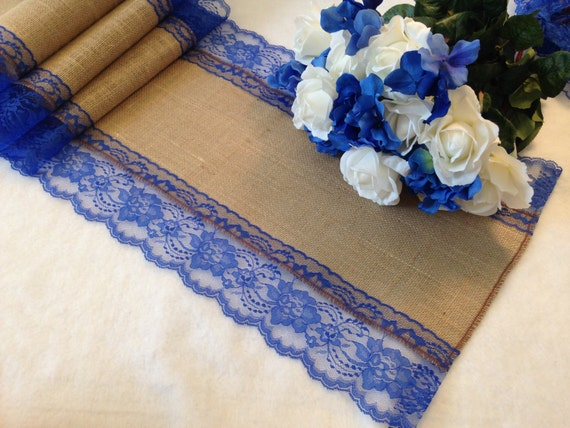 Burlap Table Runner Royal Blue Lace Wedding Table Runner