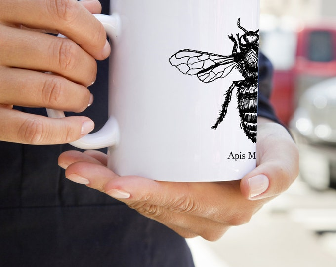 KillerBeeMoto:  Beekeepers U.S. Made Coffee Mug Apis Mellifera Honey Bee Sketch On A Mug