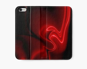 Red iPhone Wallet, Red and Black Abstract Art iPhone Case