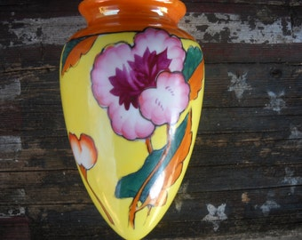 Vintage Yellow&Orange Purple Flower Lustre Ware Wall Pocket Hand Painted Made in Japan
