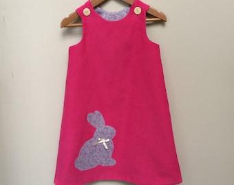Bunny pinafore, girls dress, easter dress, handmade size 4.
