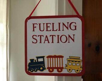 Choo Choo train birthday sign/ fueling station door sign
