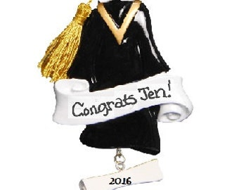 Personalized Grad Ornament, Personalized Graduation Gift, Cap and Gown Ornament