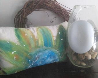 Painted Flower Pillow, Flower Pillow, Abstract Flower, Painted Flower, Boho Flower, Accent Pillow, THrow Pillow, Painted Pillow