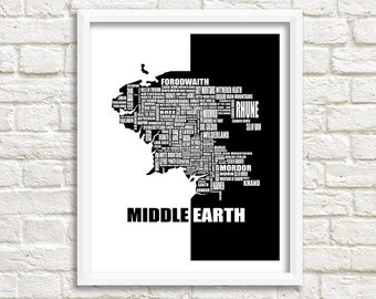 "Map of Middle Earth, Lord of the Rings Map, Instant Download, Middle Earth map decor, The Hobbit Map, Wall Art, Black, White, 8x10"", 11x14"""