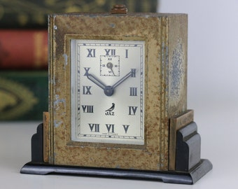 Vintage Jaz Alarm Clock Art Deco Small with Alarm Wind up Clock