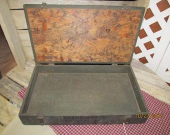 Vintage Wood Wooden Transmitter Crystal Kit Storage Box Hinged Wood Tool box