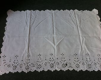 Antique French,white cotton cloth,Panel,embroidery,cut work,c1890s,hand stitched,Beautiful,time worn,old.