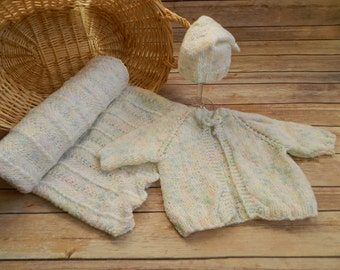 "Hand Knit Baby Girl Sweater, Hat (3 month) & Afghan (26""x 35"") White / Pastels / Mary Maxim's Baby's Best Yarn"
