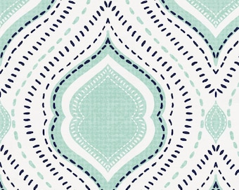 Mint and Navy Moroccan Damask Organic Fabric - By The Yard - Boy / Girl / Gender Neutral