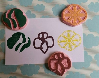 Hand Carved Scout Trefoil Stamps
