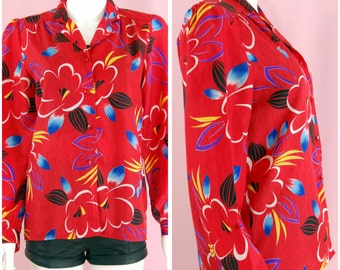 Red Blouse Vintage 80s Long Sleeve Top Red Tropical Print
