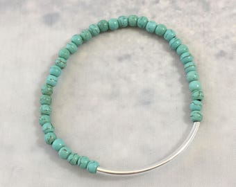 SLIM BAR BRACELET summer jewelry resort jewelry turquoise magnesite stone beads beaded stacker bracelet minimalist bracelet