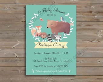 Woodland Forest Creatures Baby Shower or Birthday Invitation, Thank You Card, Diaper Raffle Ticket, Book Insert, digital file or printed