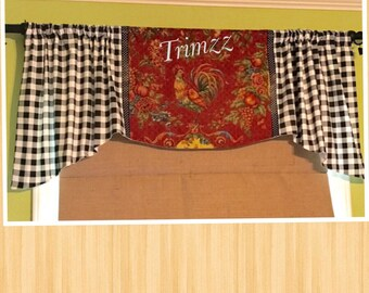 Made To Order.......Pretty Rod Pocket Gathered Valance.......Created Using Your Fabrics