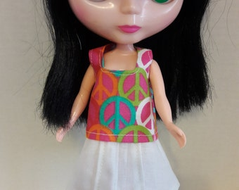 "S 053 For 10"" and 11 "" fashion dolls, 70"" Peace Sign Cotton Print Top and White Skirt"