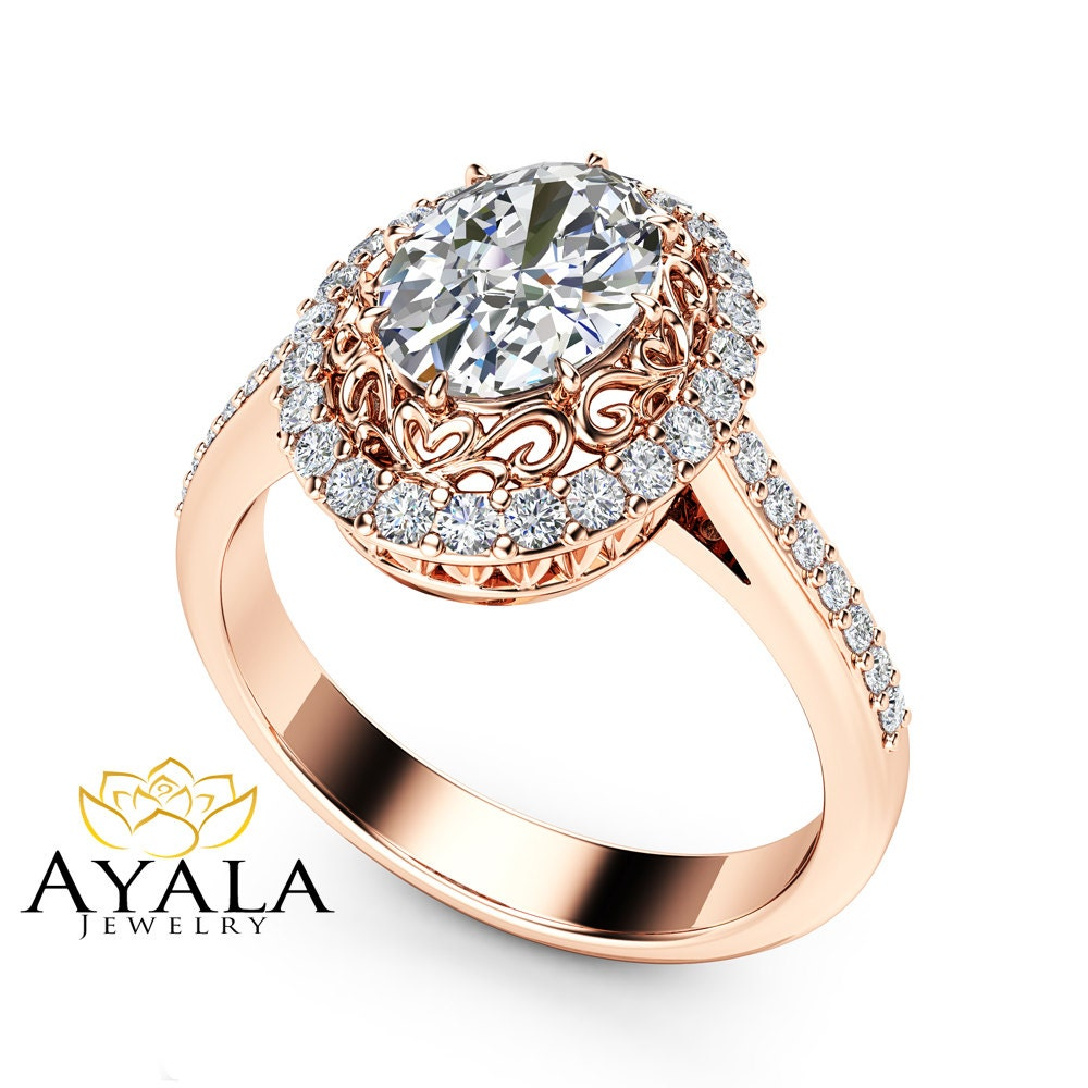 Oval Halo Engagement Ring 14K Rose Gold Ring 1 5 Carat Oval