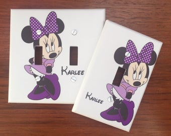 Minnie Mouse purple bow light switch cover // Personalized // SAME DAY SHIPPING**