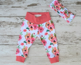 Sale Newborn Coral Pink Floral Baby Leggings Only - One Left!