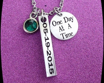 Sobriety Jewelry, Sobriety Celebration, Addiction Recovery, Sobriety Date, Sobriety Gift, One day at a time, Sobriety Milestone, Engraved