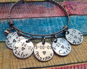 Mother's Day, Personalized Grandma Bracelet, Mom Bracelet, Grandma Bracelet, Custom Jewelry, Custom Bangle, Grandma Gift