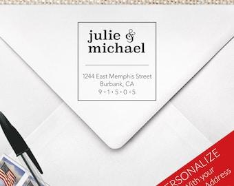 Square Return Address Stamp, Couples Address Stamp, Contemporary Address Stamp, MS-S29
