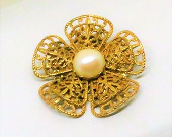 Pearl Brooch - Vintage, Miriam Haskell Signed, Filigree Gold Tone, Imitation Pearl Center, Floral Pin