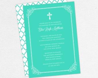Baptism Invitation, Christening Invitation, Girl Baptism, Printable Baptism Invitation, PDF, DIY Invitation, Modern, Classic, Blue, Elise